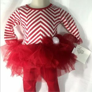 Girls Candy Cane Tutu Christmas Outfit 12 months